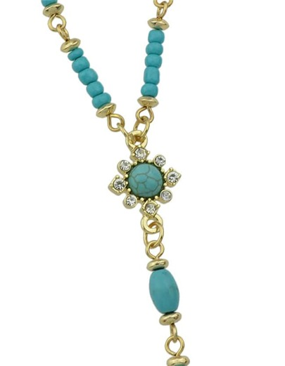 Blue Turquoise Long Chain Necklace