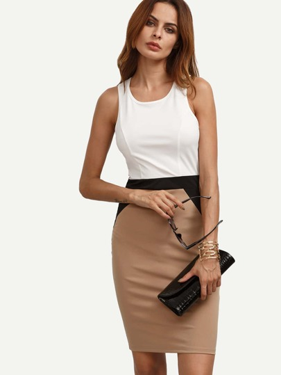 Colorblock Sleeveless Crisscross Sheath Dress
