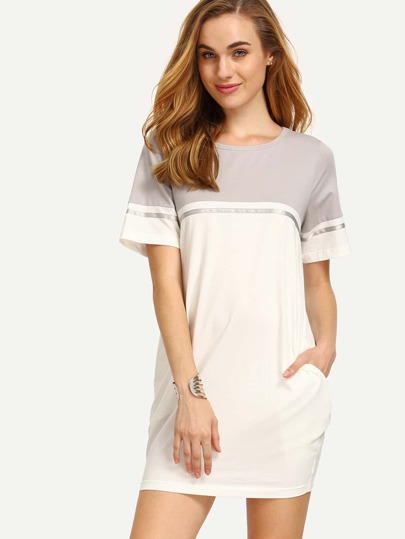 Colorblock Pocket Short Sleeve T-shirt Dress