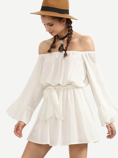 White Tie Waist Off The Shoulder Bell Sleeve Dress