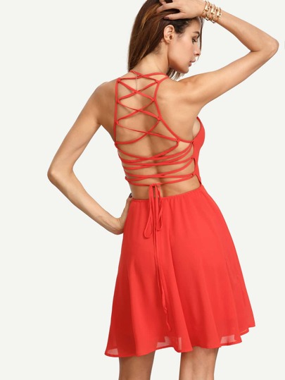 Red Sleeveless Lace-up Back Skater Dress