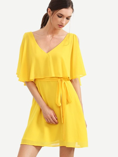 Yellow V Neck Ruffle Split Sleeve Dress