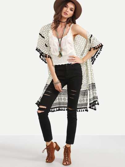 Black and White Print Tassel Kimono