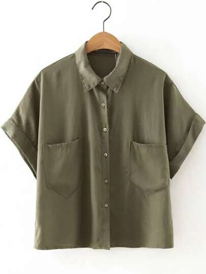 Army Green Roll-up Cuff Lapel Button Blouse