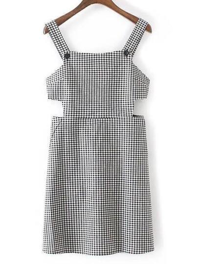 Black And White Plaid Cutout Zipper Dress
