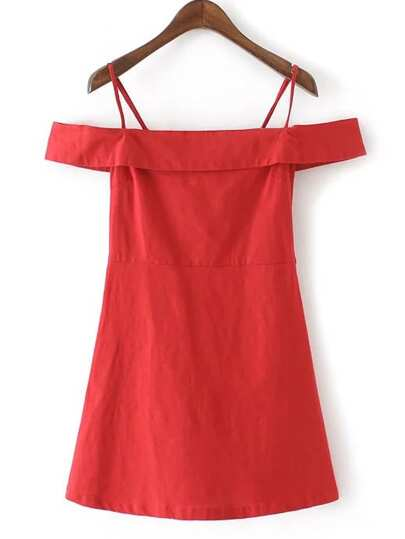 Red Cold Shoulder Zipper Side Dress