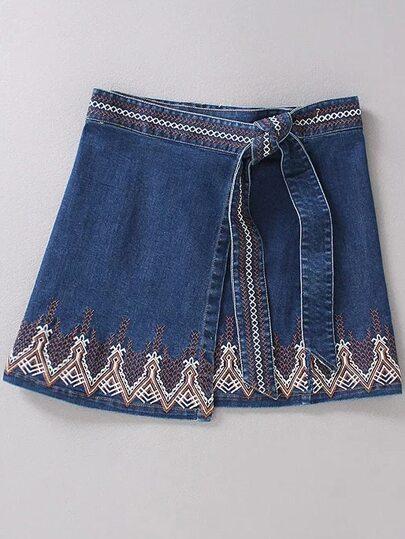 Blue Embroidery Self Tie Vintage Skirt