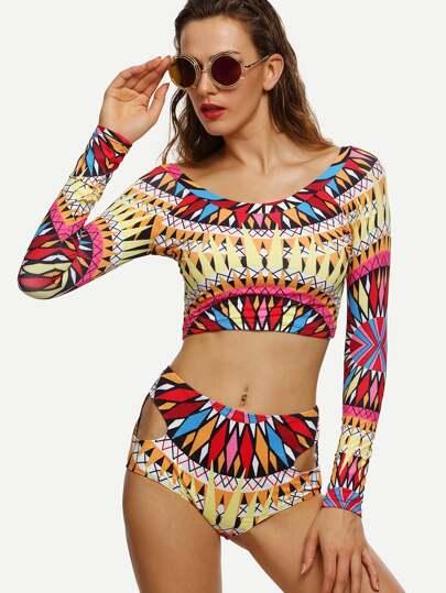 Multicolor Geometric Print Cutout Rash Guard Swimwear