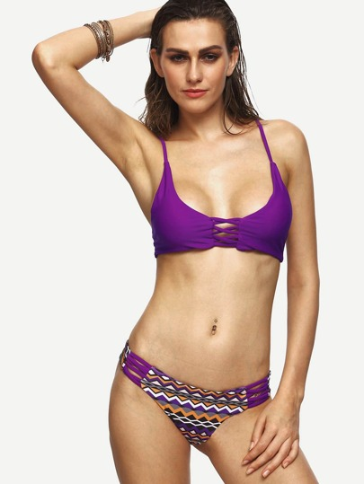 Purple Chevron Print Lattice Bikini Set