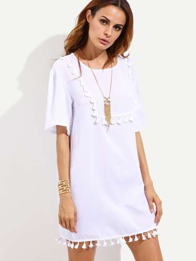 White Tassel Trim Plain Shift Dress