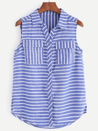 Blue White Stripe Sleeveless Blouse With Pockets