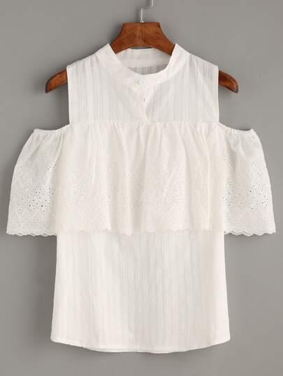 White Open Shoulder Ruffle Shirt