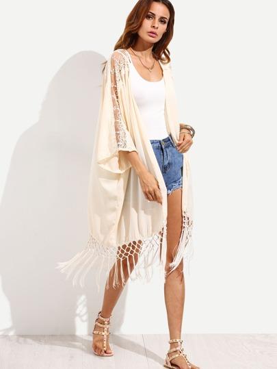 Apricot Fringe Lace Insert Long Kimono