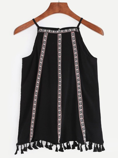 Embroidery Black Cami Top With Tassel Trim