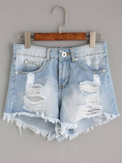 Light Blue Ripped Tassel Trimmed Denim Shorts