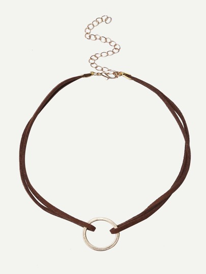 Collier court avec cercle - marron
