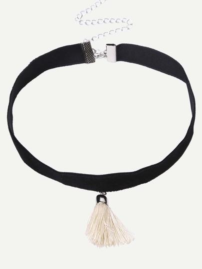Collier ras de cou avec franges - noir