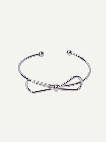 Silver Bow Open Cuff Bracelet