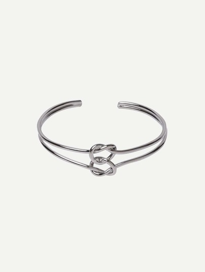 Silver Hollow Knot Open Cuff Bracelet