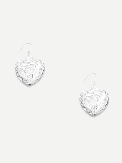 Silver Hollow Heart-shaped Drop Earrings