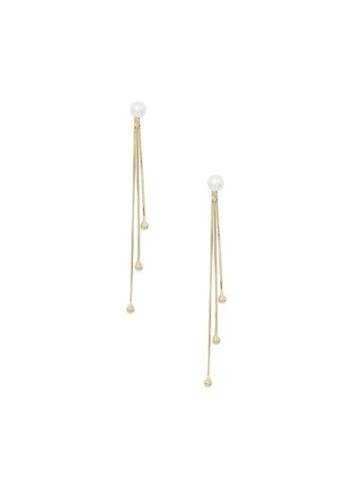 Pearl Metallic Tassel Drop Earrings
