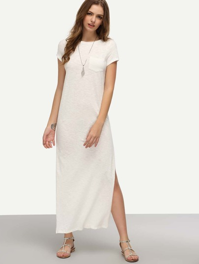 White Short Sleeve Pocket Split Dress