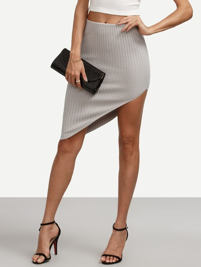Grey Skinny Asymmetrical Skirt