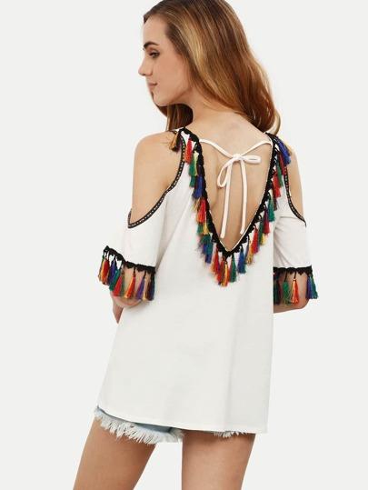 White Cold Shoulder Tie Back Tassel T-shirt