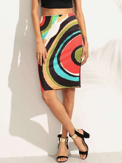 Multicolor Print Split Back Pencil Skirt