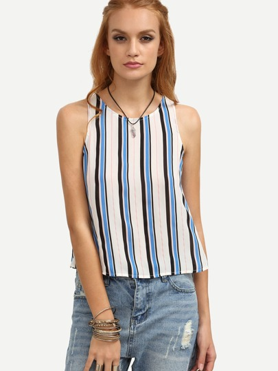 Multicolor Striped Button Back Sleeveless Blouse