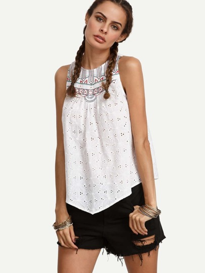 White Embroidered Cutout Sleeveless Blouse