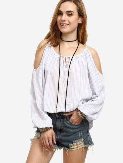 White Striped Tie Cold Shoulder Long Sleeve Blouse