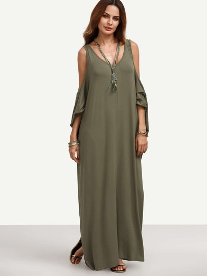 Army Green Cold Shoulder Backless Maxi Dress