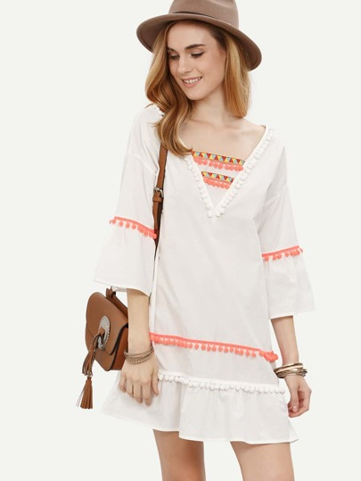 White Pom-pom Trim Three Quarter Sleeve Dress
