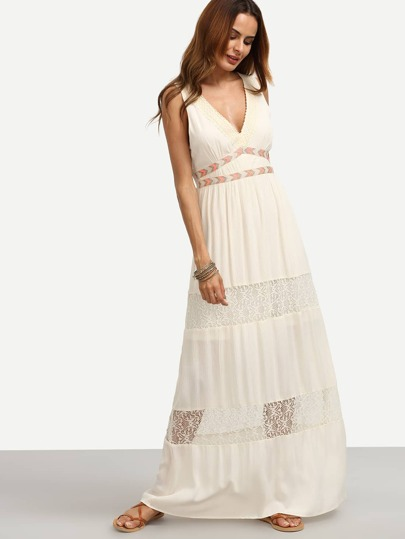 White V Neck Sleeveless Maxi Dress