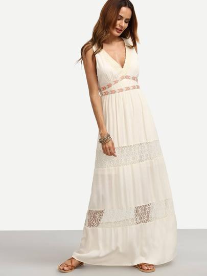 Vestido escote V sin manga maxi -blanco