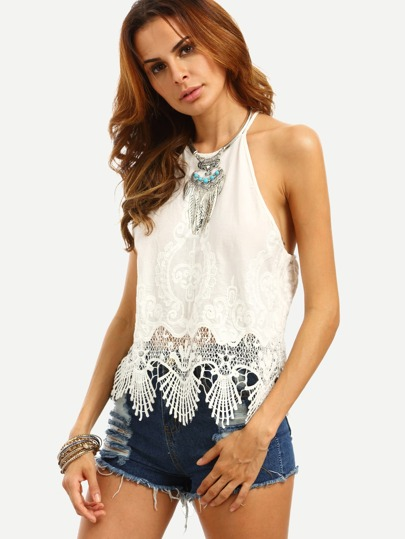 White Crochet Tie Back Cami Top
