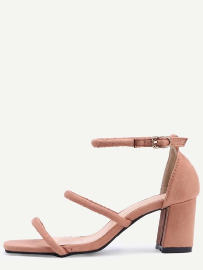 Square Peep Toe Strappy Chunky Sandals