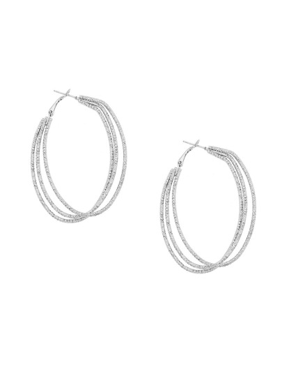 Silver Etched Geometric Layered Hoop Earrings