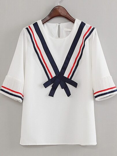 White Stripe Trim Bow Key-hole Back Blouse
