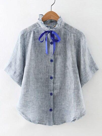 Grey High Neck Bow Button Cute Blouse