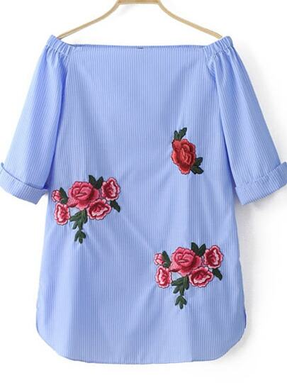Blue Off The Shoulder Stripe Embroidery Dress