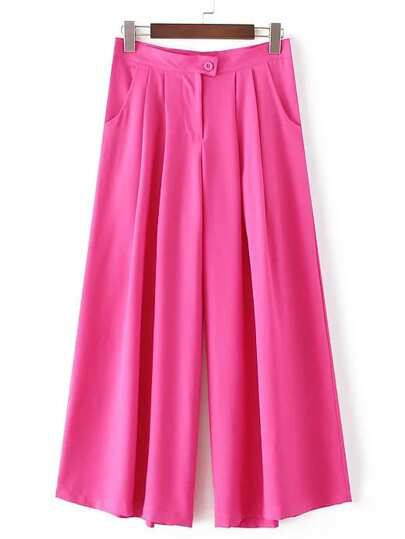 Hot Pink Button Pocket Wide Leg Pleated Pants