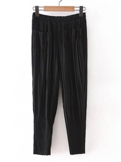 Black Elastic Waist Pleated Chiffon Pants