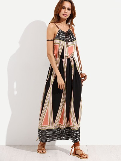 Multicolor Geometric Print Cami Long Dress