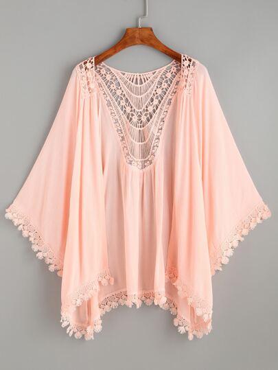 Pink Lace Trimmed Crochet Insert Kimono