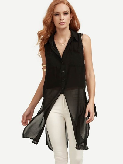 Black Sleeveless Chiffon Equipment Blouse