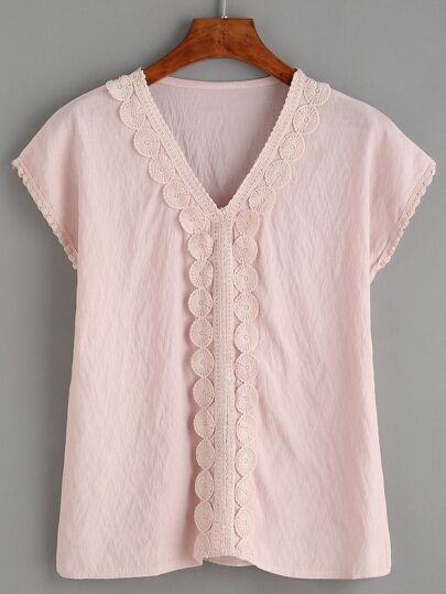 Pink V Neck Contrast Lace Top