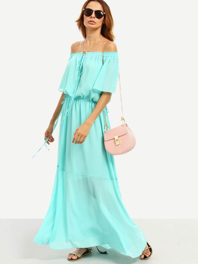 Green Tie Waist Off The Shoulder Maxi Dress