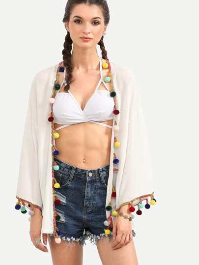 White Pom-pom Trimmed Collarless Kimono